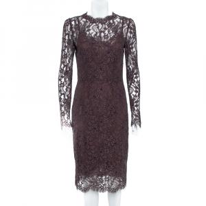 Dolce & Gabbana Raisin Purple Lace Overlay Sheath Dress M - used