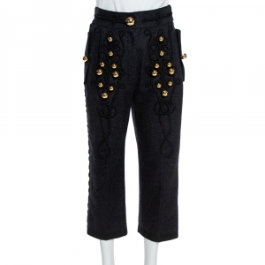 Dolce & Gabbana Grey Brushed Wool Military Cropped Trousers S