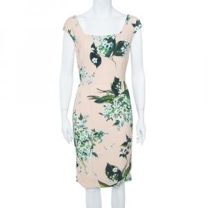 Dolce & Gabbana Pale Pink Hortensia Print Sleeveless Sheath Dress S - used