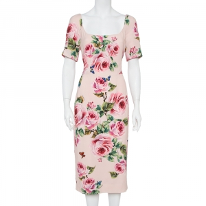 Dolce & Gabbana Pink Floral Printed Crepe Sheath Dress L