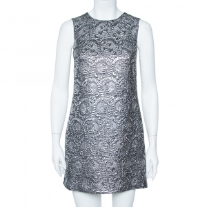 Dolce & Gabbana Silver Metallic Jacquard Shift Dress S