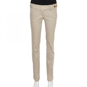 Dolce & Gabbana Beige Cotton Herringbone Pants S
