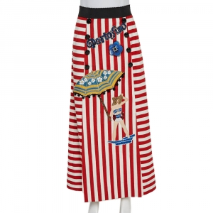 Dolce & Gabbana Bicolor Striped Cotton Embellished Maxi Skirt S