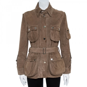 Dolce & Gabbana Tan Suede Belted Jacket M