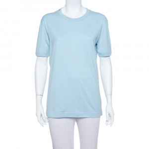 Dolce & Gabbana Blue Cotton Crewneck T Shirt L