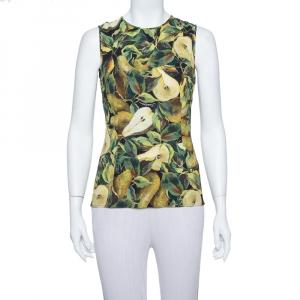 Dolce & Gabbana Green Pear Printed Crepe Tank Top S