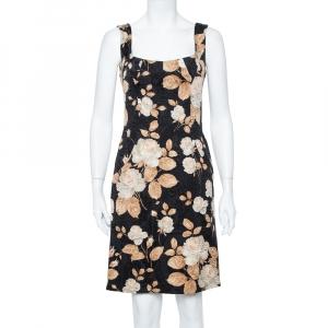Dolce & Gabbana Vintage Black Floral Printed Jacquard Sheath Dress M - used