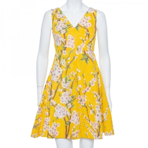 Dolce & Gabbana Yellow Floral Jacquard Sleeveless Flared Midi Dress S