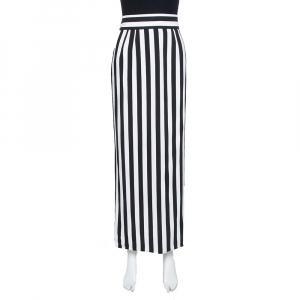 Dolce & Gabbana Monochrome Striped Crepe Maxi Skirt L