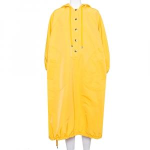 Dolce & Gabbana Yellow Cotton Half Button Oversized Hooded Parka Coat S