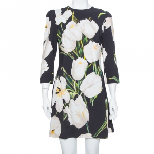Dolce & Gabbana Black Printed Crepe Sheath Dress M