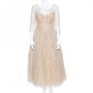 Dolce & Gabbana Cream Crystal Embellished Tulle Evening Gown L used