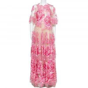 Dolce & Gabbana Beige & Pink Tulle Floral Applique Detail Gown L - used