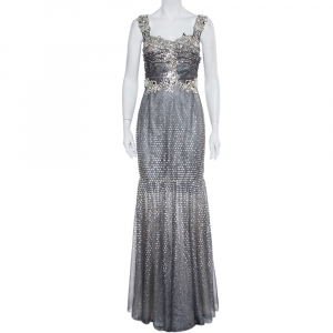 Dolce & Gabbana Silver Tulle Crystal Embellished Mermaid Evening Gown M used