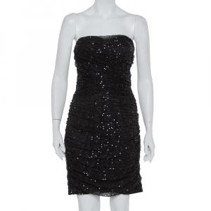 Dolce & Gabbana Black Sequin Embellished Tulle Ruched Strapless Mini Dress L - used