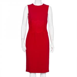 Dolce & Gabbana Red Crepe & Lace Trim Sleeveless Sheath Dress M - used