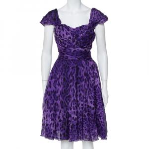 Dolce & Gabbana Purple Leopard Print Silk Sleeveless Short Dress M