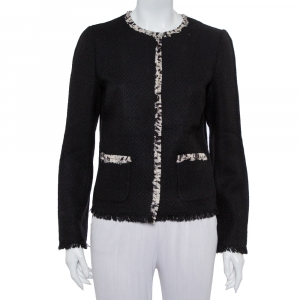 Dolce & Gabbana Black Tweed Contrast Trim Frayed Hem Jacket M