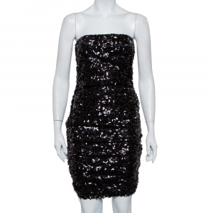 Dolce & Gabbana Black Sequined Strapless Ruched Mini Dress M