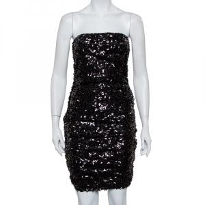 فستان ميني دولتشي أند غابانا ترتر أسود بلا حمالات بكشكشة مقاس متوسط - ميديوم