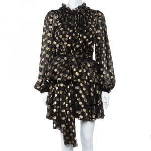 Dolce and Gabbana Black & Gold Lurex Polka Dot Silk Tiered Mini Dress M