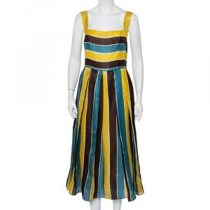 فستان ميدي دولتشي أند غابانا حرير أورغانزا مقلم متعدد الألوان مقاس كبير - لارج