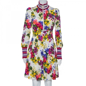 Dolce & Gabbana White Floral Printed Silk High Collar Charmeuse Mini Dress M