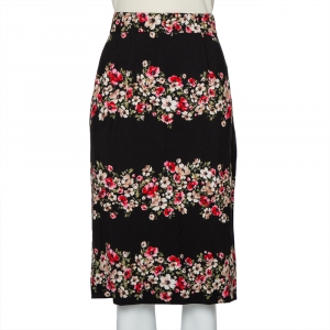 Dolce & Gabbana Black Floral Printed Crepe Pencil Skirt L