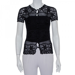 Dolce & Gabbana Black Crochet Button Front Top S
