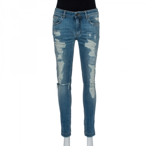 Dolce & Gabbana Blue Faded Denim Distressed Kate Jeans M