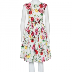 Dolce & Gabbana White Floral Printed Cotton Sleeveless Midi Dress S