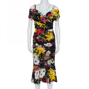 Dolce & Gabbana Black Floral Printed Silk Cold Shoulder Ruched Midi Dress S