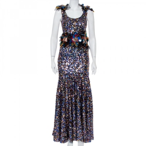 Dolce & Gabbana Sartoria Multicolor Sequin Embellished Tulle Mermaid Gown S - used