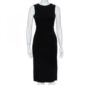 Dolce & Gabbana Black Crepe Embellished Detail Open Back Sheath Dress S - used