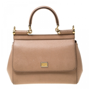 Dolce and Gabbana Beige Leather Small Miss Sicily Tote