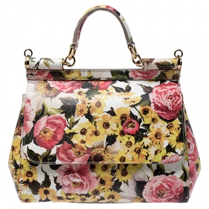 Dolce and Gabbana Multicolor Floral Print Leather Medium Miss Sicily Top Handle Bag