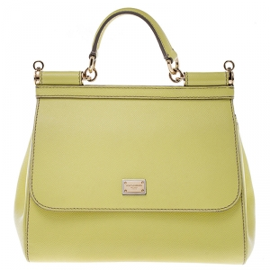 Dolce and Gabbana Yellow Leather Medium Miss Sicily Top Handle Bag