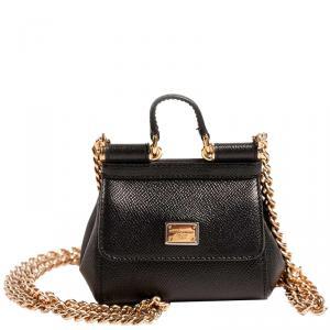 Dolce & Gabbana Black Leather Micro Miss Sicily Bag