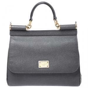 Dolce & Gabbana Dark Grey Leather Medium Miss Sicily Top Handle Bag