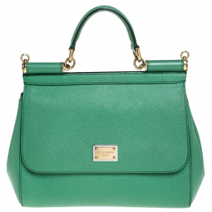 Dolce & Gabbana Green Dauphine Leather Medium Miss Sicily Top Handle Bag