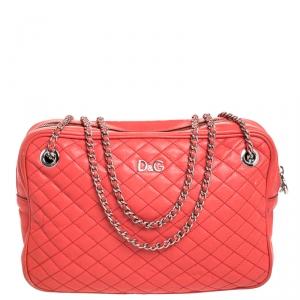 حقيبة كروس دولتشي أند غابانا Lily Glam جلد مبطنة بنية محمرة