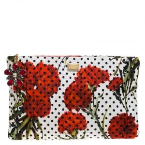 Dolce & Gabbana Multicolor Floral Print Canvas Zip Pouch