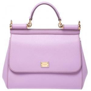 Dolce & Gabbana Lilac Purple Leather Medium Miss Sicily Top Handle Bag