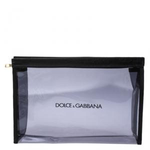 Dolce & Gabbana Black Transparent PVC Swimsuit Pouch