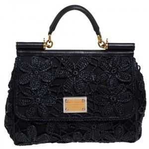 Dolce & Gabbana Black Crochet Straw/Canvas and Leather Large Miss Sicily Top Handle Bag