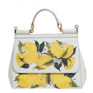 Dolce & Gabbana White/Yellow Floral Print Leather Medium Miss Sicily Top Handle Bag