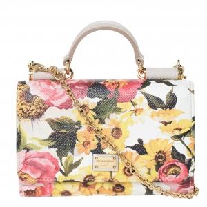 Dolce and Gabbana Multicolor Floral Print Leather Sicily Smartphone Von Bag
