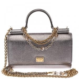 Dolce & Gabbana Silver Leather Sicily Smartphone Von Bag
