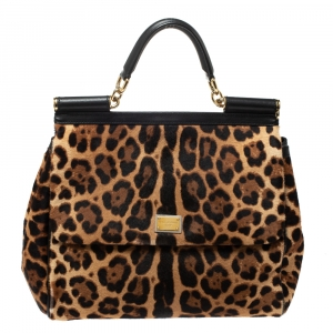 Dolce & Gabbana Brown/Black Leopard Print Calfhair and Leather Large Miss Sicily Top Handle Bag