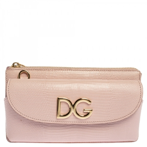 Dolce & Gabbana Light Pink Lizard Embossed Leather DG Logo Crossbody Bag